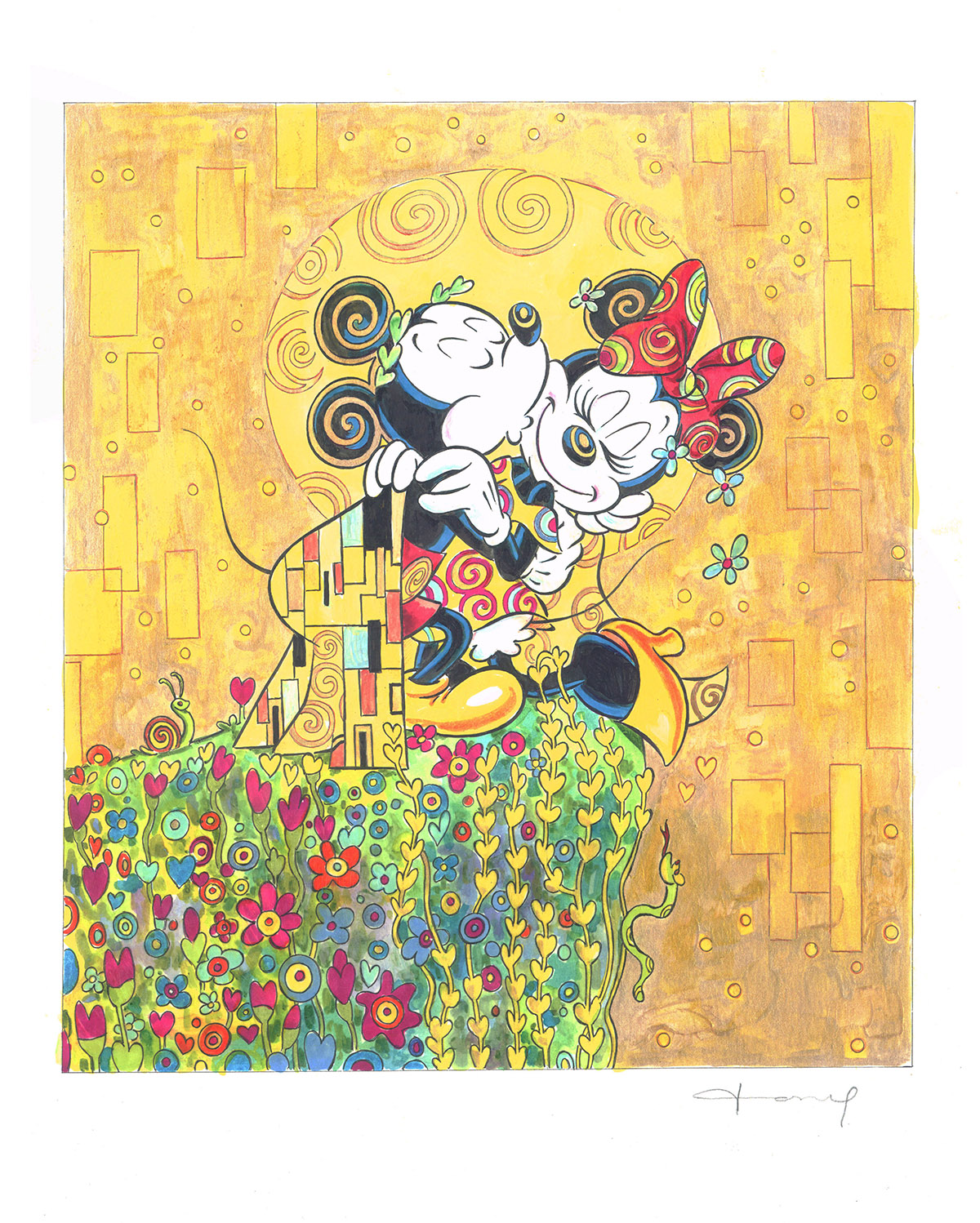 mickey minnie mouse inspired by gustav klimt corner4art. Black Bedroom Furniture Sets. Home Design Ideas